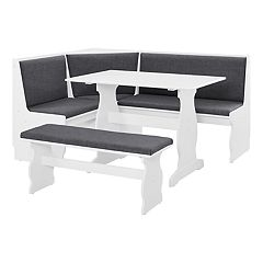Linon Sasha Nook Dining Table 3-piece Set