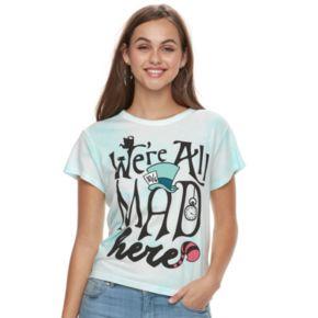 "Disney's Alice in Wonderland Juniors' ""We're All Mad Here"" Tie-Dye Crop Tee"