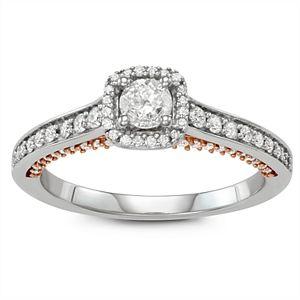 Simply Vera Vera Wang Two Tone 14k Gold 3/4 Carat T.W. Diamond Halo Engagement Ring