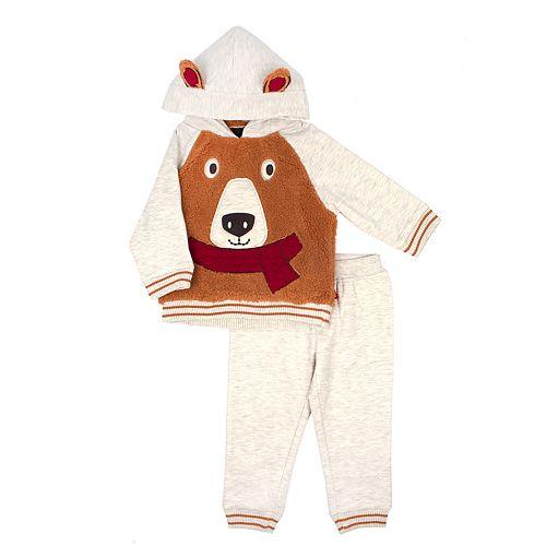 Baby Boy Little Rebels Bear Hoodie & Pants Set