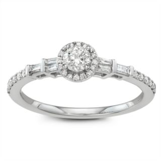 Simply Vera Vera Wang 14k White Gold 1/2 Carat T.W. Diamond Halo Engagement Ring