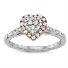 Simply Vera Vera Wang Two Tone 14k Gold 1/2 Carat T.W. Diamond Heart Engagement Ring