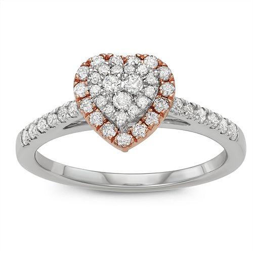 Simply Vera Vera Wang Two Tone 14k Gold 1/2 Carat T.W. Diamond Heart Engagement Ring