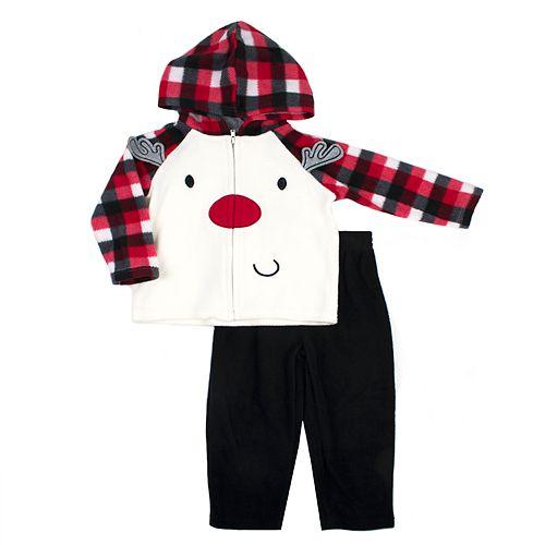 Baby Boy Little Rebels Reindeer Plaid Zip Hoodie & Pants Set
