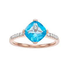 14k Rose Gold Over Silver Swiss Blue Topaz & Lab-Created White Sapphire Ring