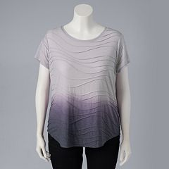 Plus Size Simply Vera Vera Wang Dip-Dye Windy Jacquard Tee