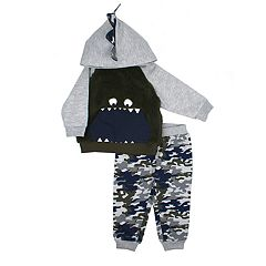 Toddler Boy Little Rebels Monster Camouflaged Hoodie & Jogger Pants Set