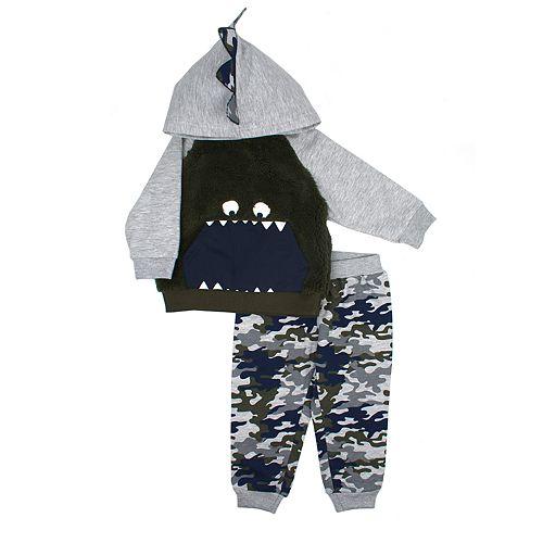 Toddler Boy Little Rebels Monster Camouflaged Hoodie & Jogger Pants Set
