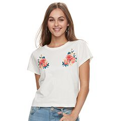 Juniors' Roses Crop Tee