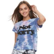 "Juniors' ""Not Sorry"" Tie-Dye Crop Tee"
