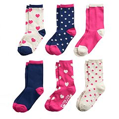 Toddler Girl Stride Rite 6-pack Polka-Dot & Heart Crew Socks