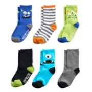 Toddler Boy Stride Rite 6-pack Silly Monster Crew Socks