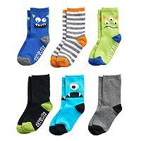 Toddler Boy Stride Rite 6-pack Silly Monster Crew Socks