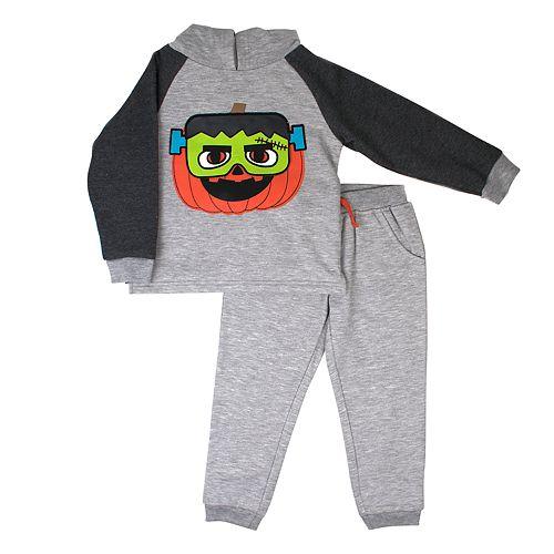 Toddler Boy Little Rebels Pumpkin Frankenstein Pullover Hoodie & Jogger Pants Set
