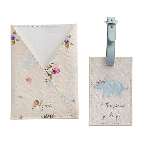 LC Lauren Conrad Dinosaur & Floral Passport Case & Luggage Tag Set