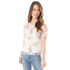 Juniors' IZ Byer Floral Cold Shoulder Top