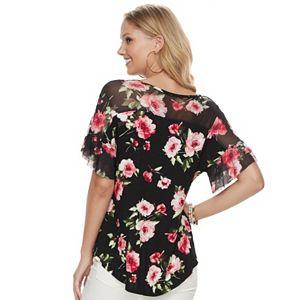 Women's French Laundry Floral Mesh Yoke Top