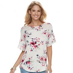 Women's French Laundry Floral Mesh Yoke Top