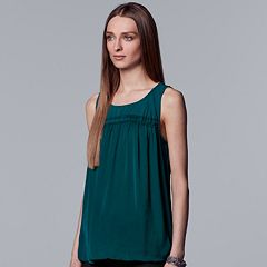 Petite Simply Vera Vera Wang Pleated Swing Tank
