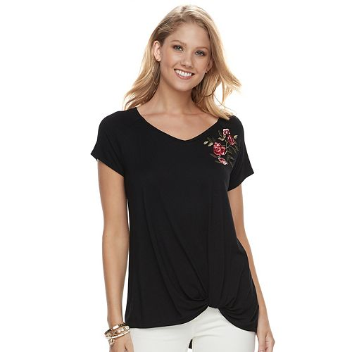 4e38aded293c6 Women's French Laundry Embroidered Knot-Front Tee