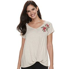 Women's French Laundry Embroidered Knot-Front Tee