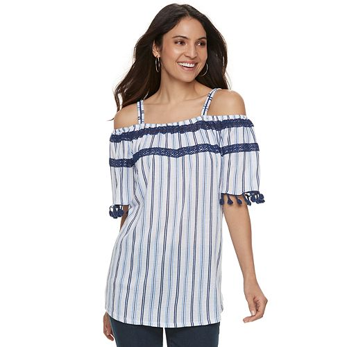 Women's French Laundry Tassel Trim Cold-Shoulder Top