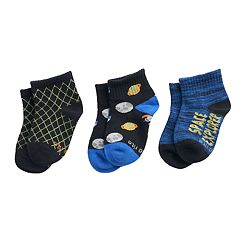 Baby / Toddler Boy Stride Rite 3-pack Space Cadet Quarter Socks