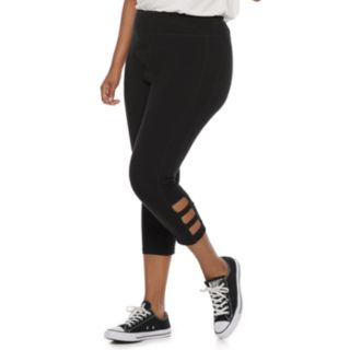 Juniors' Plus Size SO® Cutout Yoga Capri Leggings