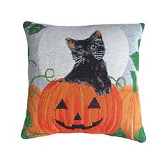 Celebrate Halloween Together Cat in Pumpkin Woven Tapestry Throw Pillow
