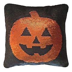 Celebrate Halloween Together Pumpkin Reversible Sequin Throw Pillow