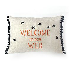 Celebrate Halloween Together ''Welcome to our Web'' Glowing Oblong Throw Pillow