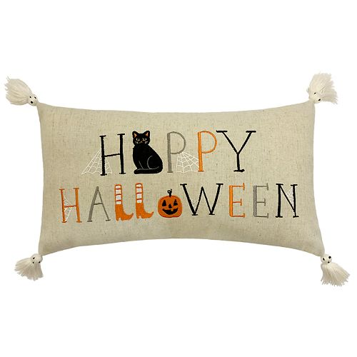 Celebrate Halloween Together ''Happy Halloween'' Oblong Throw Pillow