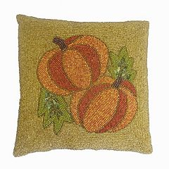 Celebrate Fall Together Beaded Pumpkin Throw Pillow