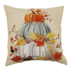Celebrate Fall Together Stacked Pumpkin Throw Pillow