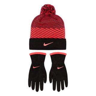 Girls 7-16 Nike Hazard Knit Beanie & Fleece Gloves Set