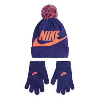 Girls 7-16 Nike Swoosh Hat & Gloves Set