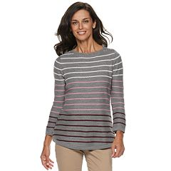 Women's Croft & Barrow® Button-Shoulder Crewneck Sweater
