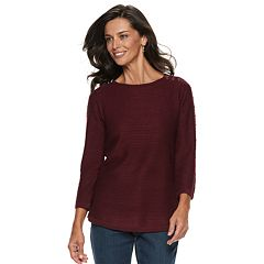 Women's Croft & Barrow® Button-Shoulder Crewneck Sweater