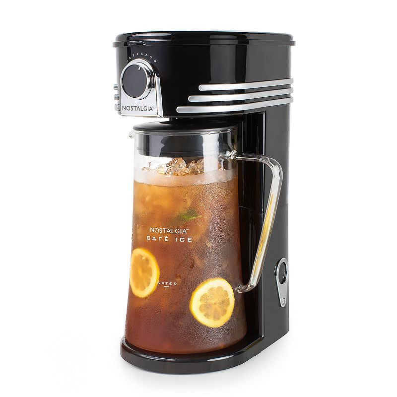Nostalgia Electrics Café 3-qt. Iced Coffee & Tea Maker Brew your very own gourmet iced drinks to perfection with this Nostalgia Electrics iced coffee and tea maker. Reusable filter basket Shower head designed for complete saturation and optimal flavor extraction Strength selector dial 3-qt. glass pitcher with large handle Three-position lid turns for free pouring Auto shut off when brewing is done Cord hideaway in rear of unit for tidy storage Simple push-button to power on 14.5 H x 8 W x 10.25 D Manufacturer's 1-year limited warrantyFor warranty information please click here Up to 700 watts Hand wash Plastic, metalModel no. C13BK  Size: One Size. Color: Multicolor. Gender: unisex. Age Group: adult.