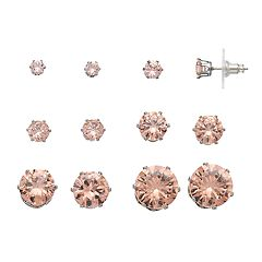 Simply Vera Vera Wang Pink Simulated Crystal Stud Earring Set