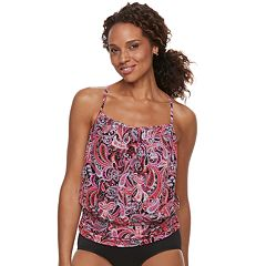 Women's A Shore Fit Tummy Slimmer Mesh Blouson Tankini Top