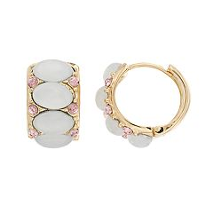 Dana Buchman White Cabochon Hoop Earrings