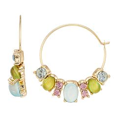 Dana Buchman Colorful Cabochon Hoop Earrings