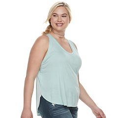 Juniors' Plus Size Mudd® Shirttail V-Neck Tank