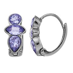 Simply Vera Vera Wang Purple Simulated Crystal Hinged Hoop Earrings