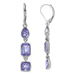 Simply Vera Vera Wang Purple Simulated Crystal Linear Drop Earrings
