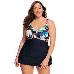 Plus Size Croft & Barrow Floral Twist-Front Swimdress