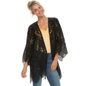 Juniors' Love, Fire Floral Lace-Trim Kimono