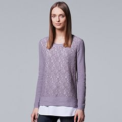 Petite Simply Vera Vera Wang Mock-Layer Lace Front Top