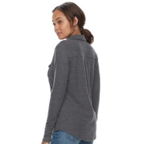 Women's SONOMA Goods for Life? Supersoft Ribbed Johnny Collar Shirt